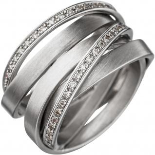 Damen Ring breit verschlungen 585 Gold Weißgold matt 47 Diamanten Brillanten