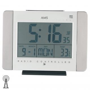 AMS 5126 Wanduhr Tischuhr Funk digital weiß Wecker Datum Thermometer