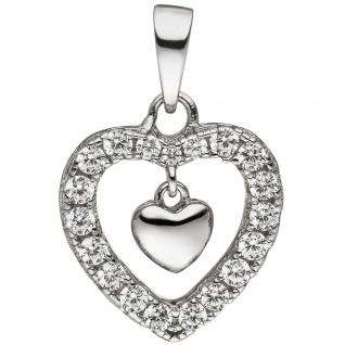 Anhänger Herz Herzen 925 Sterling Silber 19 Zirkonia Silberanhänger Silberherz - Vorschau