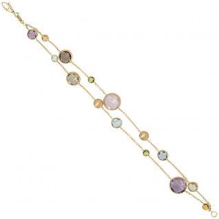 Armband 2-reihig 585 Gold Gelbgold matt mattiert mit Edelsteinen Goldarmband