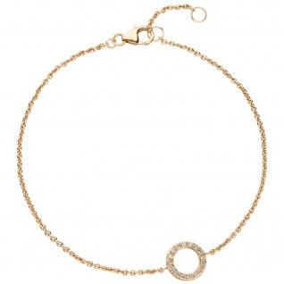 Armband 585 Gold Gelbgold 16 Diamanten Brillanten 21 cm
