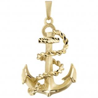 Anhänger Anker 585 Gold Gelbgold teil matt Goldanhänger Ankeranhänger