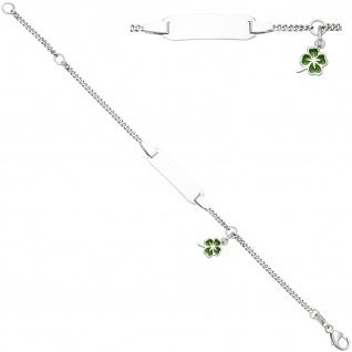 Schildband Kleeblatt 925 Sterling Silber grüne Lackeinlage 14 cm