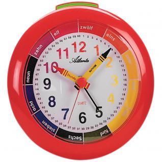 Atlanta 1265/1 Wecker Kinderwecker Quarz analog rot bunt Lernwecker für Kinder