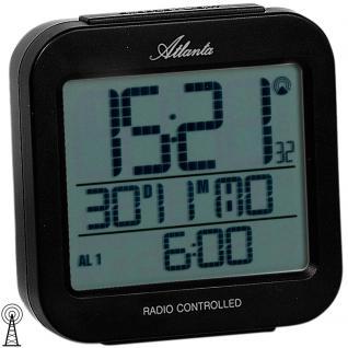 Atlanta 1809/7 Wecker Funk digital schwarz Licht Datum Thermometer Digitalwecker - Vorschau 2