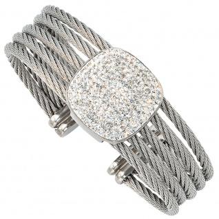 Armspange / offener Armreif aus Edelstahl mit Kristallen kombiniert breit