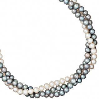 Collier Statement Perlenkette 3-reihig Süßwasser Perlen 45 cm Halskette Kette