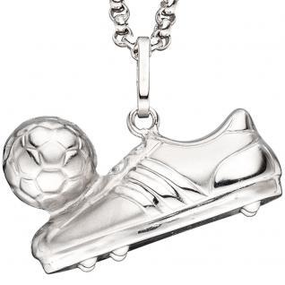 Anhänger Fußball Fußballschuh mit Ball 925 Sterling Silber mattiert - Vorschau 2