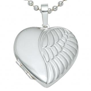 Medaillon Herz Flügel Engelsflügel 925 Silber matt Foto Anhänger zum Öffnen - Vorschau 4