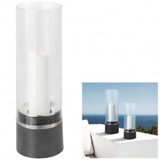 Blomus Windlicht PIEDRA, Polystone mit Edelstahl matt kombiniert, Glasaufsatz