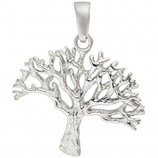 Anhänger Baum 925 Sterling Silber matt Silberanhänger Baumanhänger