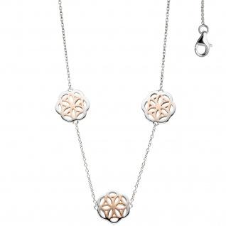 Collier Halskette 925 Sterling Silber bicolor vergoldet Kette Silberkette