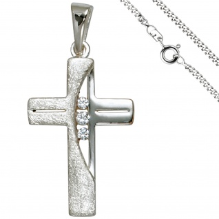 Anhänger Kreuz 925 Silber 3 Zirkonia Kreuzanhänger Silberkreuz mit Kette 50 cm