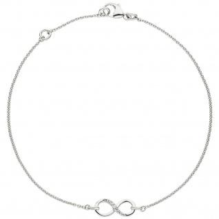 Armband Unendlichkeit 925 Sterling Silber 7 Zirkonia 19, 5 cm Silberarmband