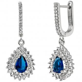 Creolen Tropfen 925 Sterling Silber mit Zirkonia blau weiß Ohrringe Ohrhänger