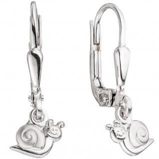 Kinder Boutons Schnecke 925 Silber teil matt Ohrringe Ohrhänger Kinderohrringe
