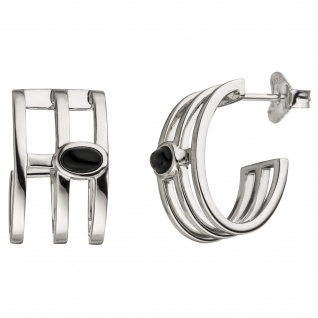 Halbcreolen 925 Sterling Silber 2 Onyxe Ohrringe Creolen Silberohrringe