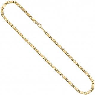 Halskette Kette 585 Gold Gelbgold massiv mattiert 50 cm Karabiner