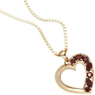 Anhänger Herz 585 Gold Gelbgold 7 Granate rot Herzanhänger Granatanhänger - Vorschau 4