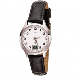 JOBO Damen Armbanduhr Funk Funkuhr Edelstahl Lederband schwarz Datum Damenuhr - Vorschau 3