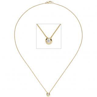 Collier Kette mit Anhänger 585 Gold Gelbgold 1 Diamant Brillant 45 cm