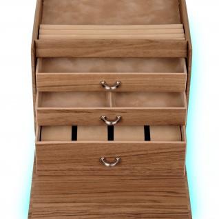 Sacher Schmuckkoffer Schmuckkasten NORDIC STYLE weiß und Holz-Optik Uhrenfach - Vorschau 3