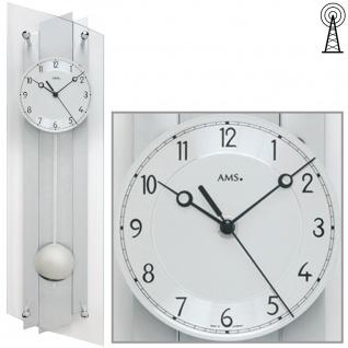 AMS 5261 Wanduhr Funk Funkwanduhr mit Pendel silbern Pendeluhr Glas Aluminium