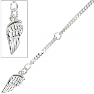 Fußkettchen Fußkette Flügel 925 Sterling Silber rhodiniert Federring