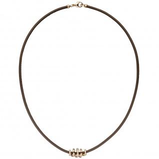 Collier Halskette Leder taupe mit 585 Gold Rotgold 47 Diamanten Brillanten 45 cm