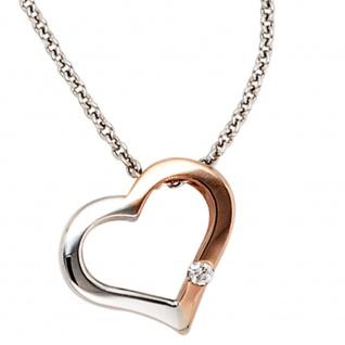 Collier Kette mit Anhänger Herz 585 Gold bicolor 1 Diamant Brillant 42 cm