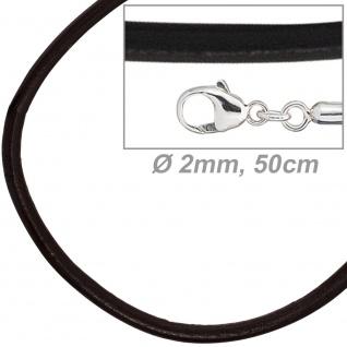Leder Halskette Kette Schnur schwarz 50 cm, Karabiner 925 Sterling Silber