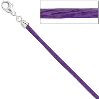 Collier Halskette Seide lila 2, 8 mm 42 cm, Verschluss 925 Silber Kette