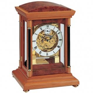 AMS 2187/9 Tischuhr mechanisch Holz kirschbaum farben mit Glas