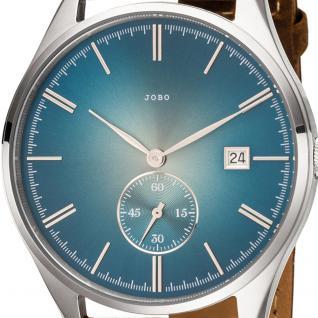 JOBO Herren Armbanduhr Quarz Analog Edelstahl Lederband braun Datum Herrenuhr - Vorschau 2