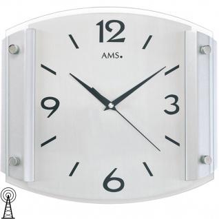 AMS 5938 Wanduhr Funk Funkwanduhr analog silbern modern mit Glas und Aluminium
