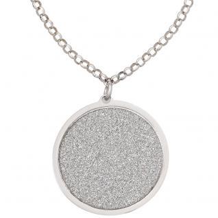 Collier Kette mit Anhänger rund 925 Sterling Silber mattiert 45 cm Halskette