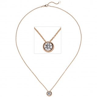 Collier Kette mit Anhänger 585 Gold Rotgold 1 Diamant Brillant 1, 0 ct. 45 cm