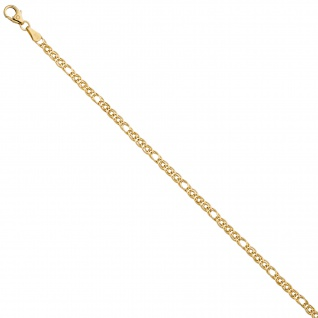 Zwillings-Panzerarmband 585 Gelbgold 19 cm Gold Armband Goldarmband - Vorschau 4