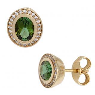 Ohrstecker oval 585 Gold Gelbgold 2 Turmaline grün 48 Diamanten Brillanten