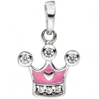 Kinder Anhänger Krone 925 Sterling Silber mit Zirkonia Kinderanhänger rosa