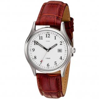 JOBO Herren Armbanduhr Quarz Analog Edelstahl Lederband rotbraun Herrenuhr Datum - Vorschau 1