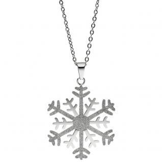 Collier Kette mit Anhänger Schneeflocke Edelstahl bicolor Glitzer-Effekt 46 cm