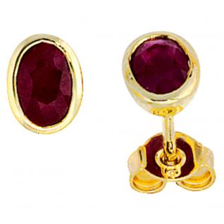Ohrstecker oval 585 Gold Gelbgold 2 Rubine rot Ohrringe Goldohrstecker