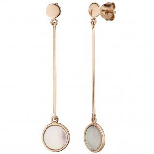 Ohrhänger 925 Sterling Silber rotgold vergoldet 2 Perlmutt-Einlagen Ohrringe
