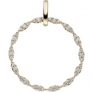 Anhänger rund 585 Gold Gelbgold 42 Diamanten Brillanten 0, 26ct. Diamantanhänger