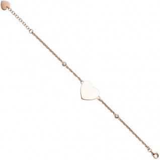 Armband Herz 925 Sterling Silber rotgold vergoldet 2 Zirkonia 22 cm Herzarmband