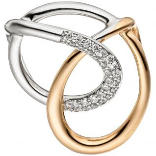 Anhänger 585 Gold Rotgold Weißgold bicolor 27 Diamanten Brillanten