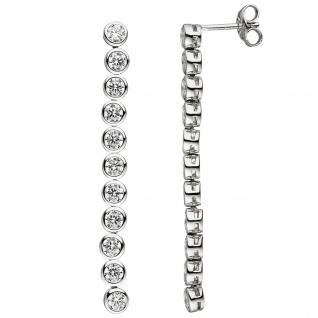 Ohrhänger lang 925 Silber 22 Zirkonia Ohrringe Ohrstecker Silberohrringe