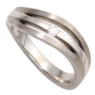 Damen Ring 950 Platin matt 1 Diamant Brillant 0, 07ct. Platinring