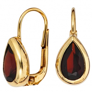 Boutons Tropfen 375 Gold Gelbgold 2 Granate rot Ohrringe Ohrhänger